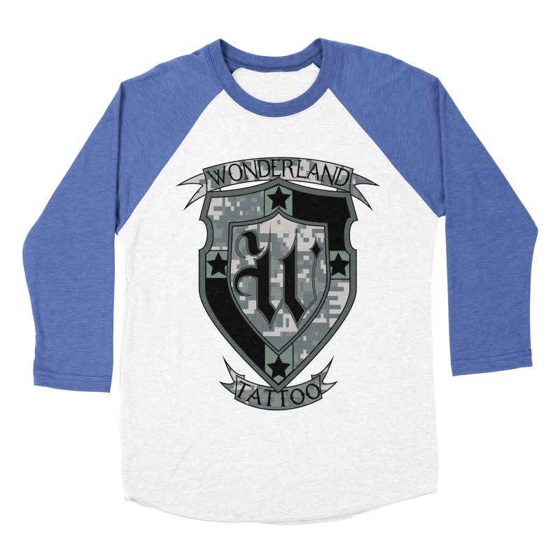 Digi Camo shield Men's Baseball Triblend Longsleeve T-Shirt by Wonderland Tattoo Studio's Artist Shop