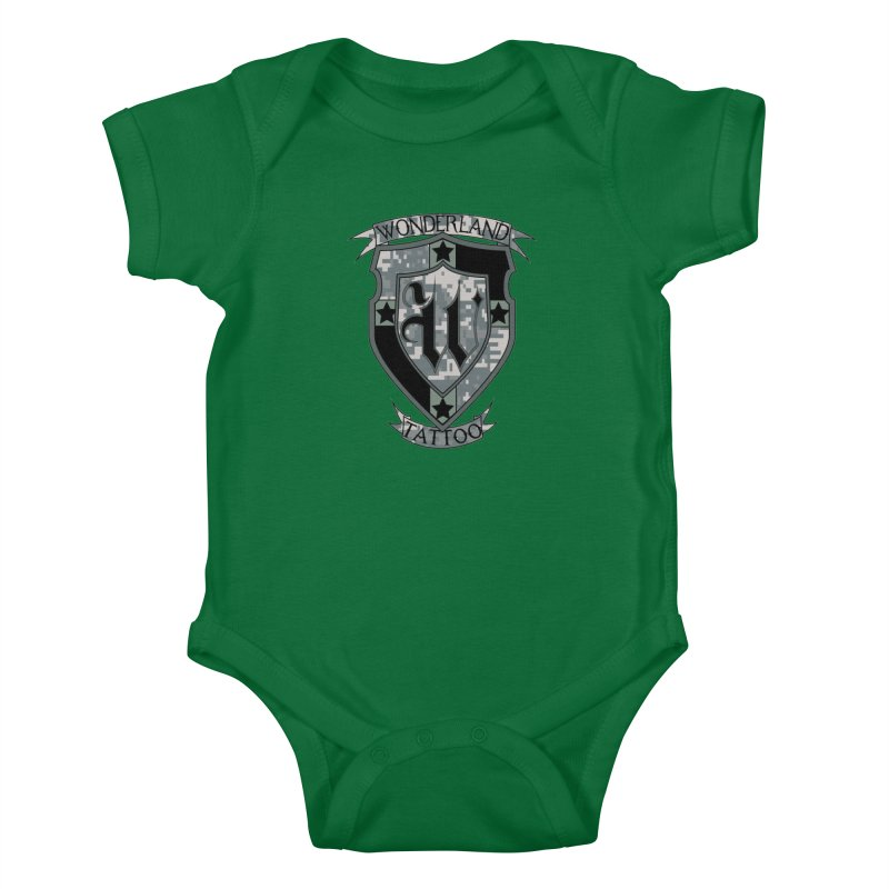Digi Camo shield Kids Baby Bodysuit by Wonderland Tattoo Studio's Artist Shop