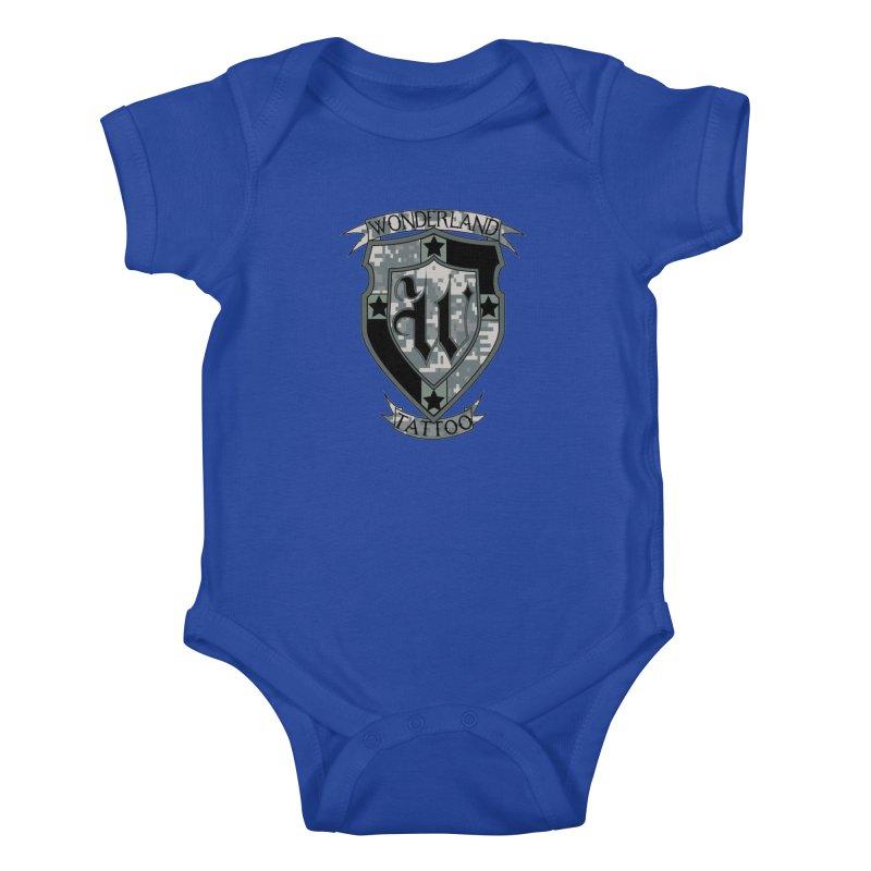Digi Camo shield Kids Baby Bodysuit by Wonderland Tattoo Studio's Artist Shop