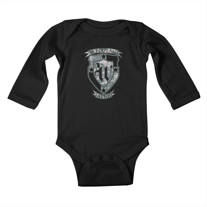 Digi Camo shield Kids Baby Longsleeve Bodysuit by Wonderland Tattoo Studio's Artist Shop