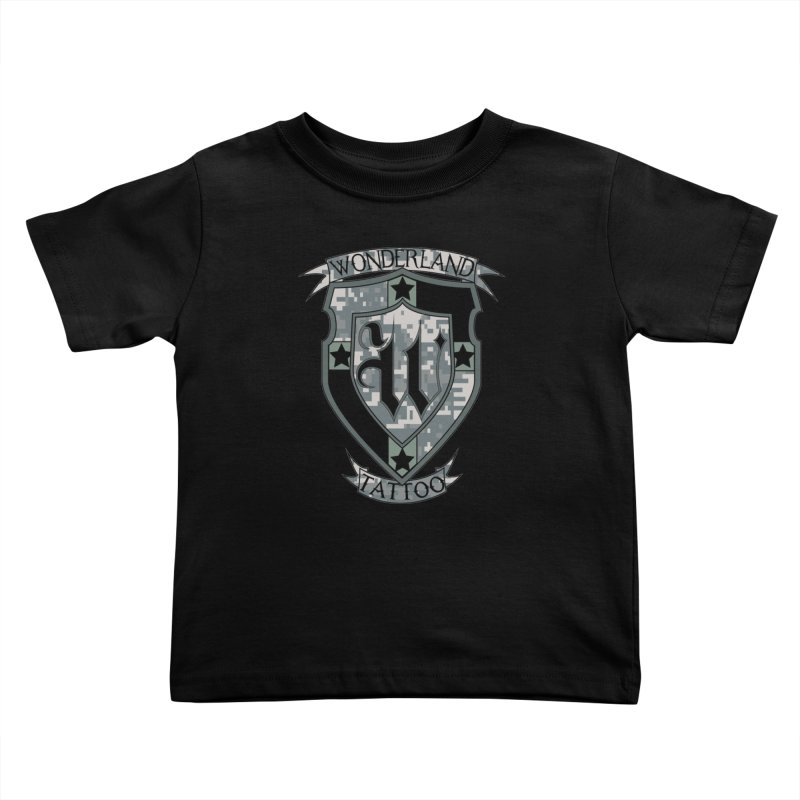 Digi Camo shield Kids Toddler T-Shirt by Wonderland Tattoo Studio's Artist Shop