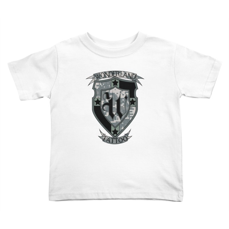 Digi Camo shield Kids Toddler T-Shirt by Wonderland Tattoo Studio's Artist Shop