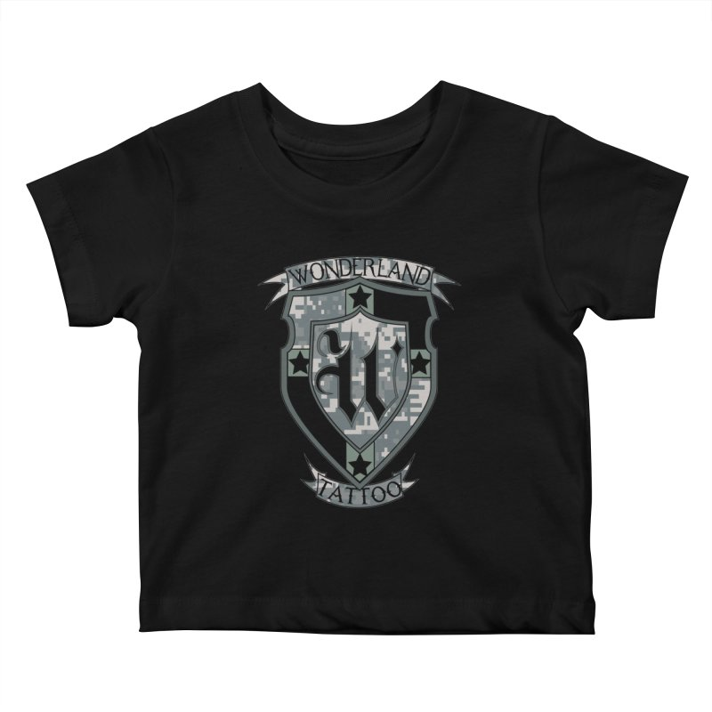 Digi Camo shield Kids Baby T-Shirt by Wonderland Tattoo Studio's Artist Shop