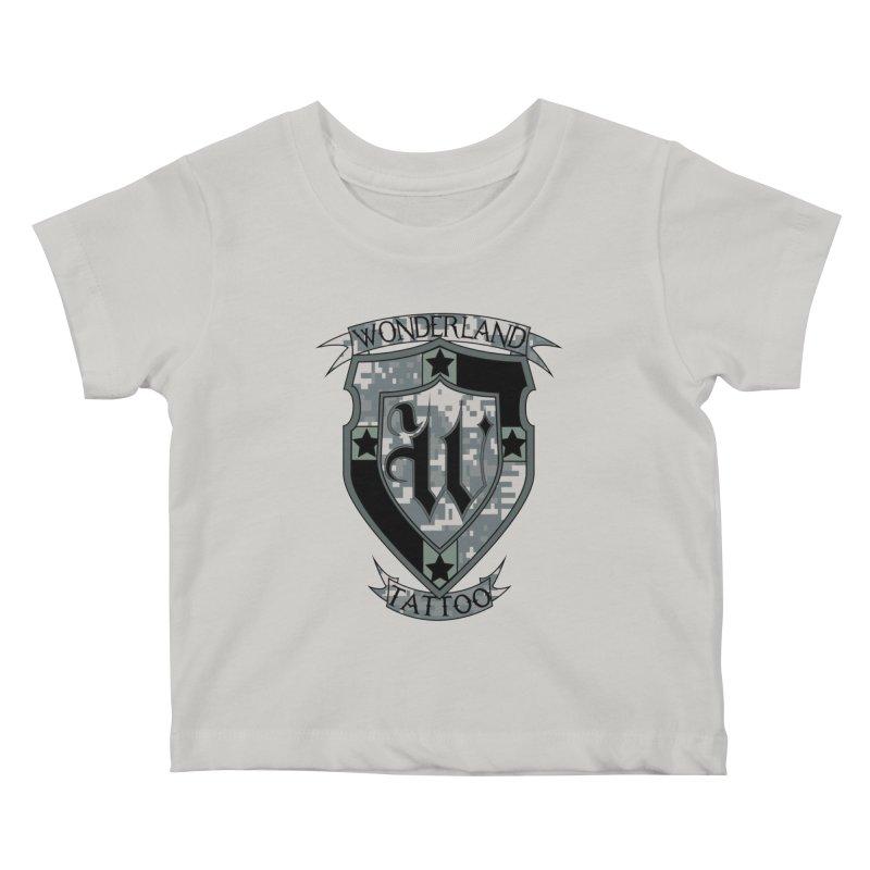Digi Camo shield Kids Baby T-Shirt by Wonderland Tattoo Studio's Artist Shop