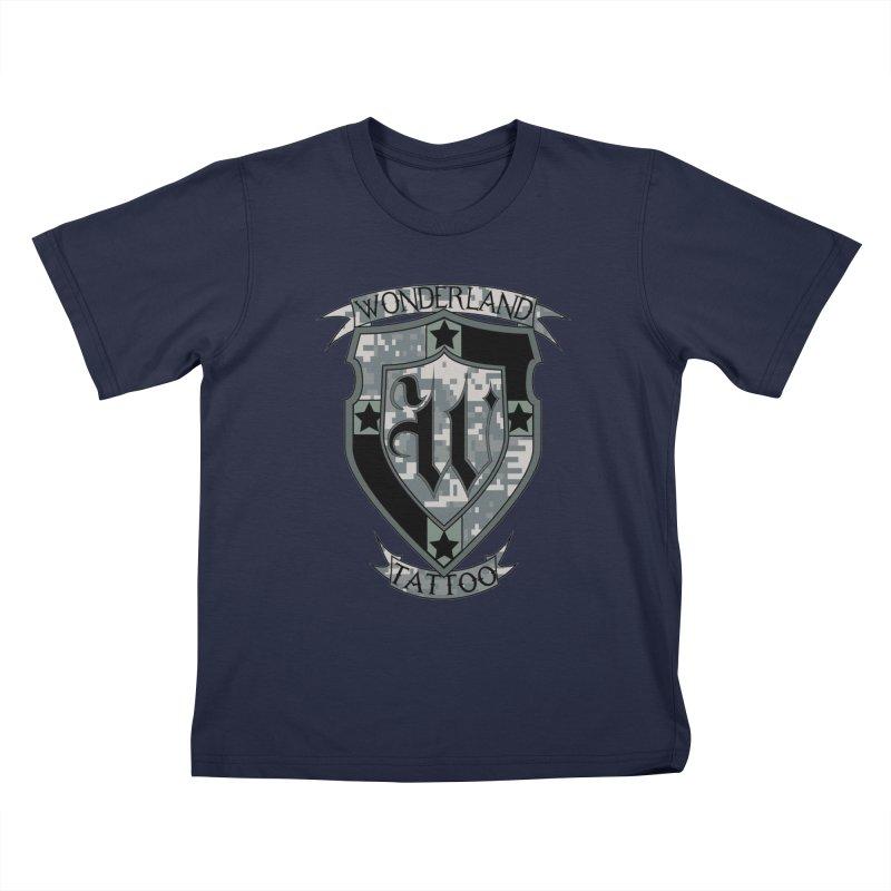 Digi Camo shield Kids T-Shirt by Wonderland Tattoo Studio's Artist Shop
