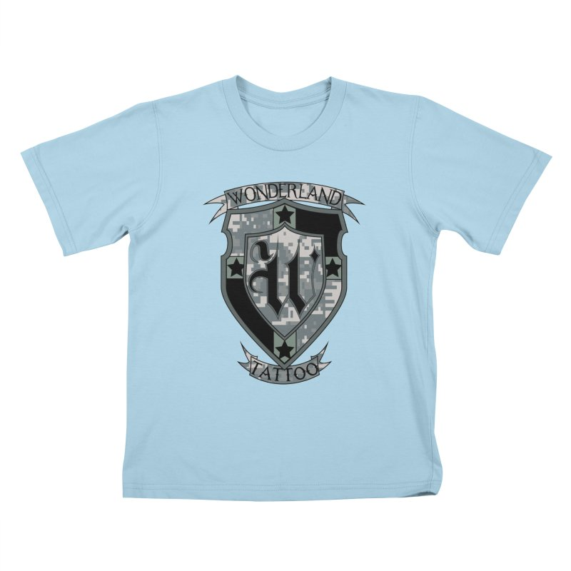 Digi Camo shield Kids T-Shirt by Wonderland Tattoo Studio's Artist Shop