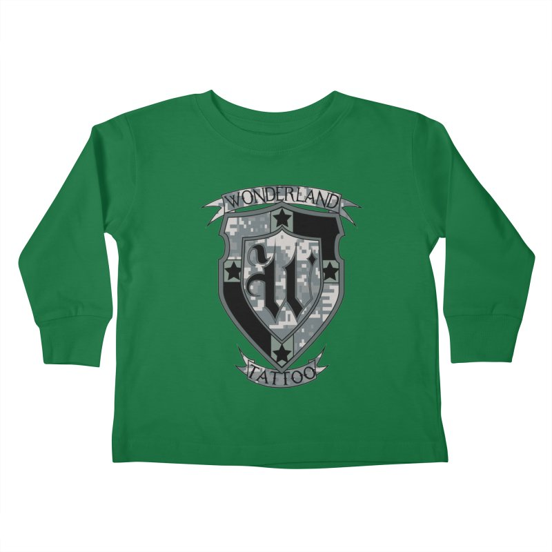Digi Camo shield Kids Toddler Longsleeve T-Shirt by Wonderland Tattoo Studio's Artist Shop