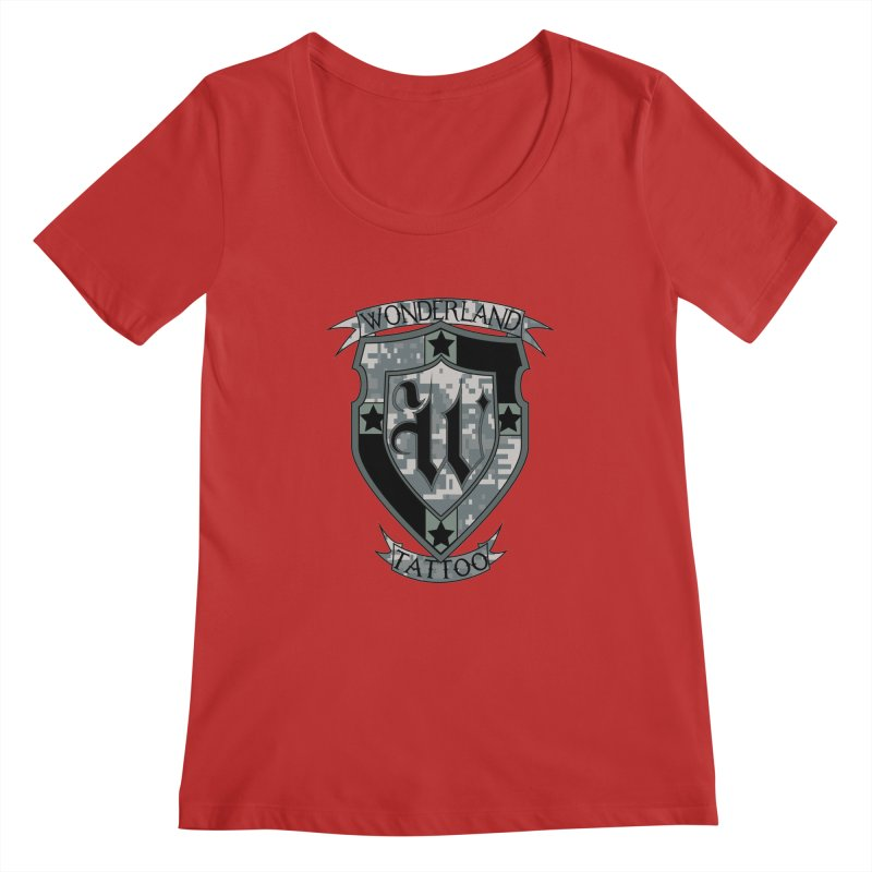 Digi Camo shield Women's Regular Scoop Neck by Wonderland Tattoo Studio's Artist Shop