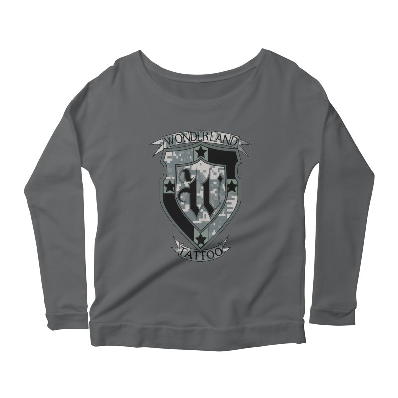 Digi Camo shield Women's Scoop Neck Longsleeve T-Shirt by Wonderland Tattoo Studio's Artist Shop