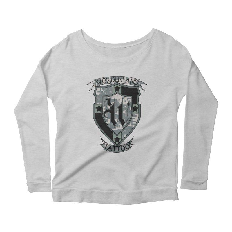Digi Camo shield Women's Scoop Neck Longsleeve T-Shirt by Wonderland Tattoo Studio's Artist Shop