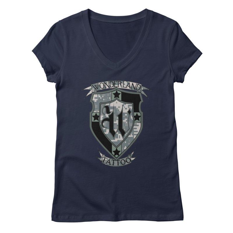 Digi Camo shield Women's Regular V-Neck by Wonderland Tattoo Studio's Artist Shop