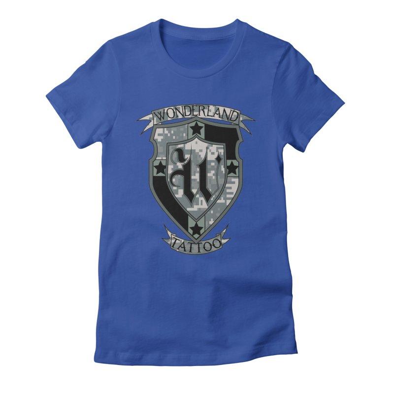 Digi Camo shield Women's Fitted T-Shirt by Wonderland Tattoo Studio's Artist Shop