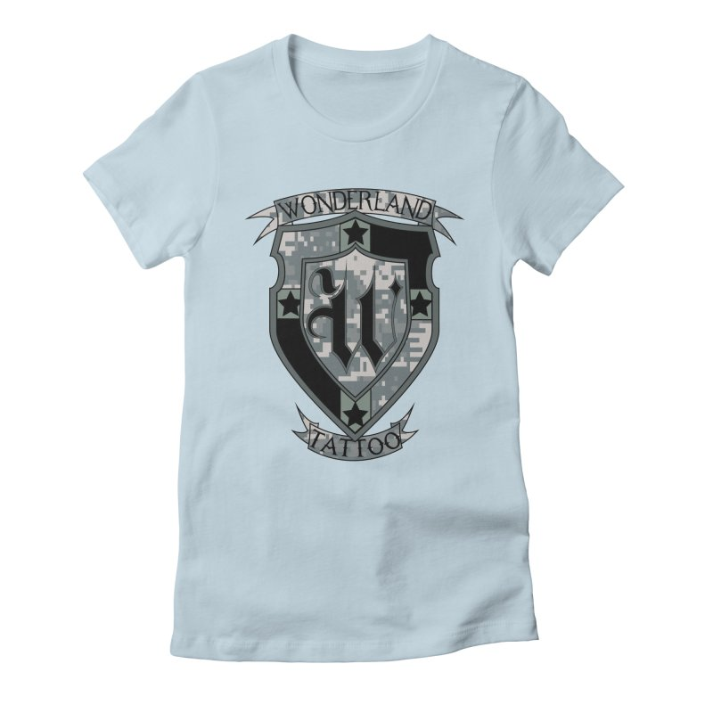 Digi Camo shield Women's Fitted T-Shirt by Wonderland Tattoo Studio's Artist Shop