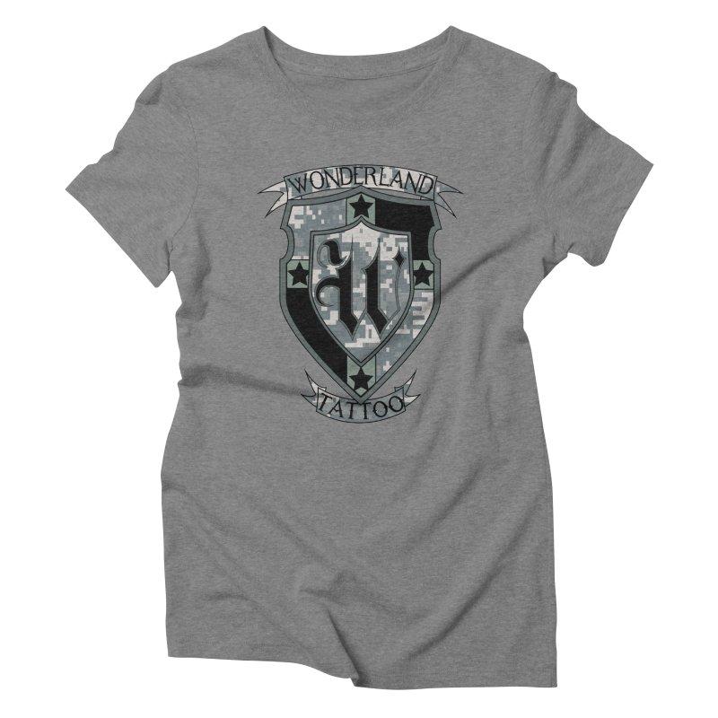 Digi Camo shield Women's Triblend T-Shirt by Wonderland Tattoo Studio's Artist Shop