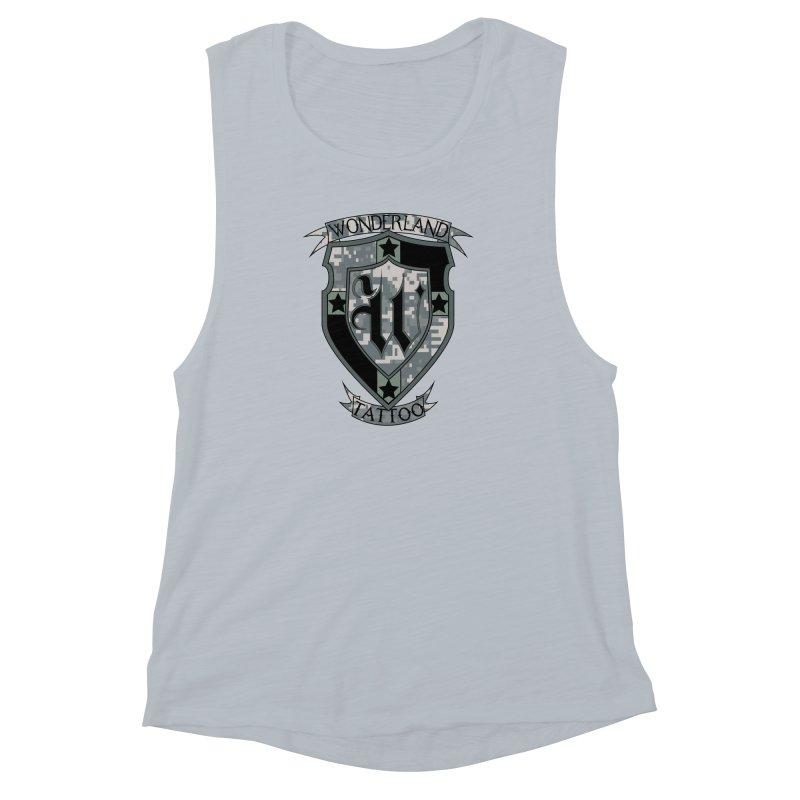 Digi Camo shield Women's Muscle Tank by Wonderland Tattoo Studio's Artist Shop