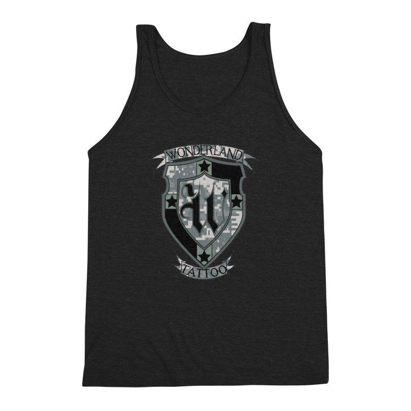 Digi Camo shield Men's Triblend Tank by Wonderland Tattoo Studio's Artist Shop