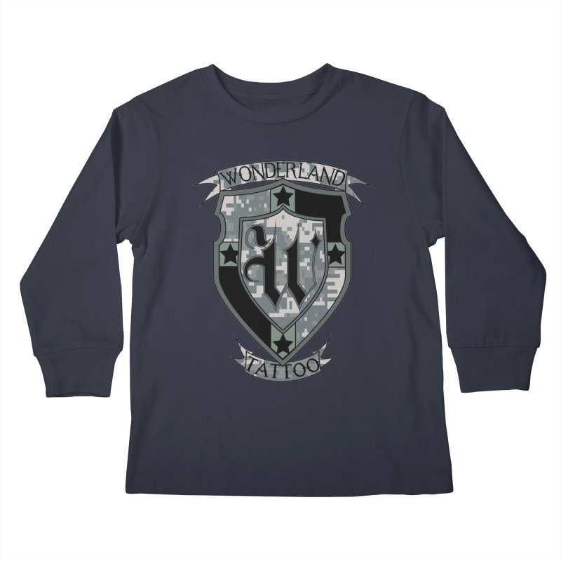 Digi Camo shield Kids Longsleeve T-Shirt by Wonderland Tattoo Studio's Artist Shop