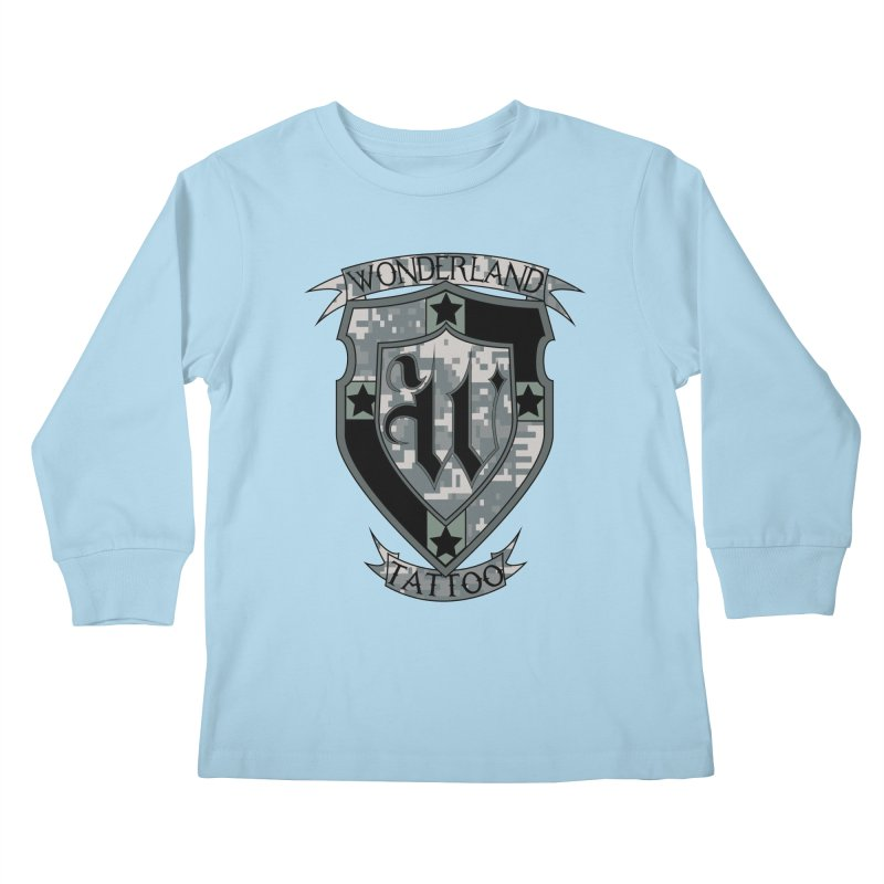 Digi Camo shield Kids Longsleeve T-Shirt by Wonderland Tattoo Studio's Artist Shop