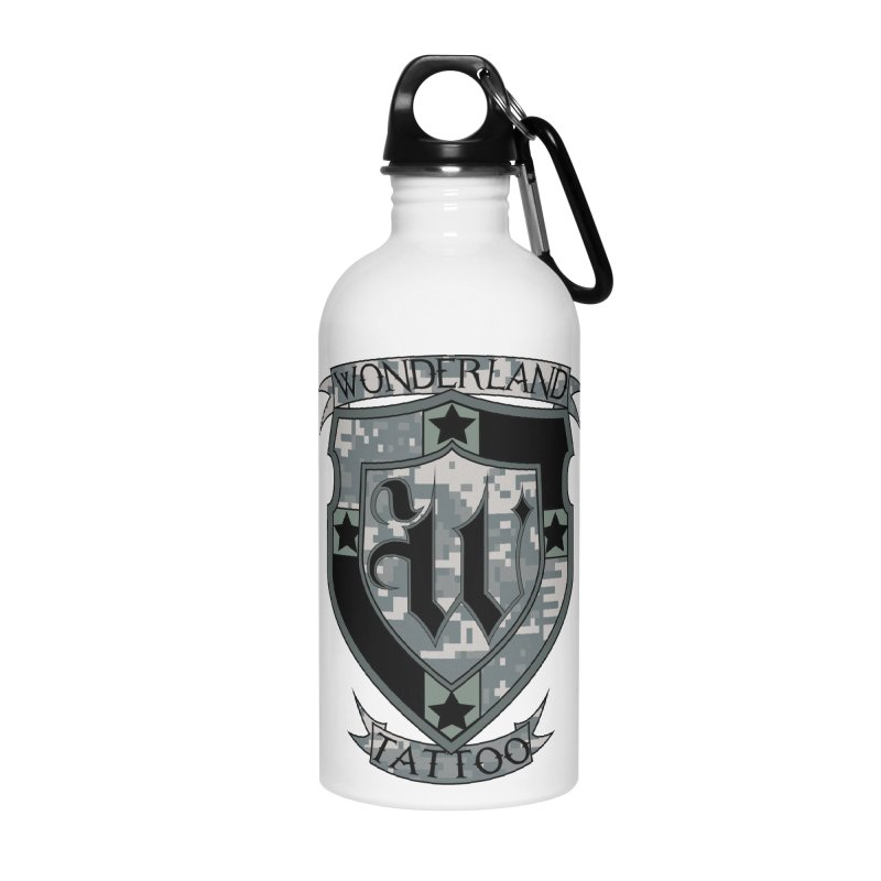 Digi Camo shield Accessories Water Bottle by Wonderland Tattoo Studio's Artist Shop
