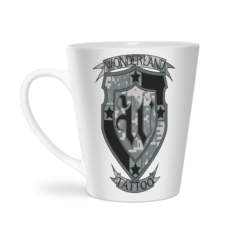 Digi Camo shield Accessories Latte Mug by Wonderland Tattoo Studio's Artist Shop