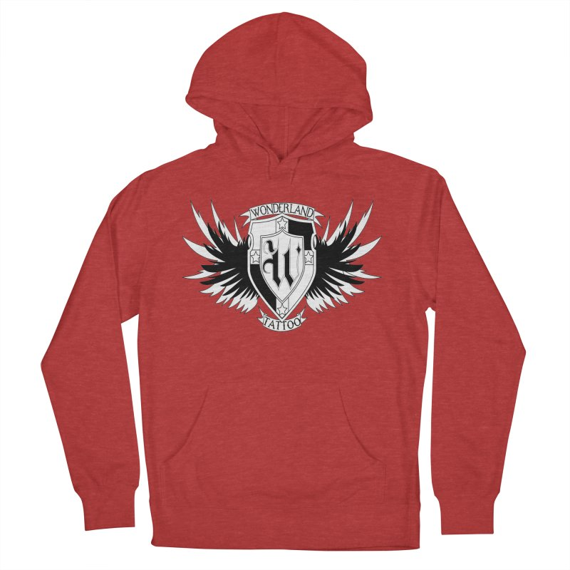 Winged Shield Men's French Terry Pullover Hoody by Wonderland Tattoo Studio's Artist Shop