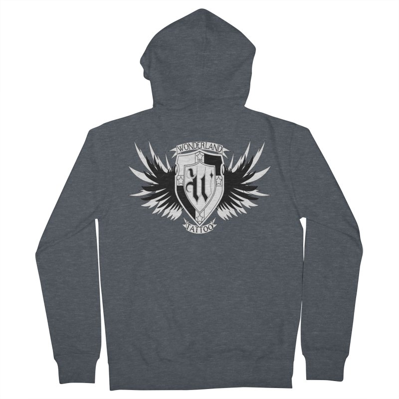 Winged Shield Women's French Terry Zip-Up Hoody by Wonderland Tattoo Studio's Artist Shop