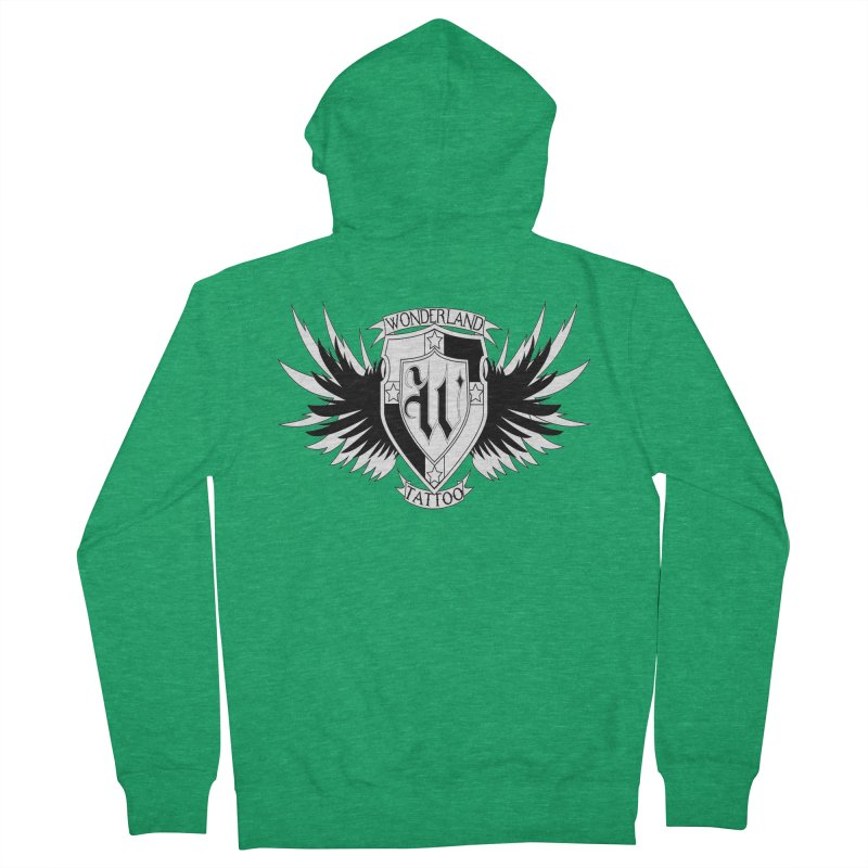 Winged Shield Men's French Terry Zip-Up Hoody by Wonderland Tattoo Studio's Artist Shop
