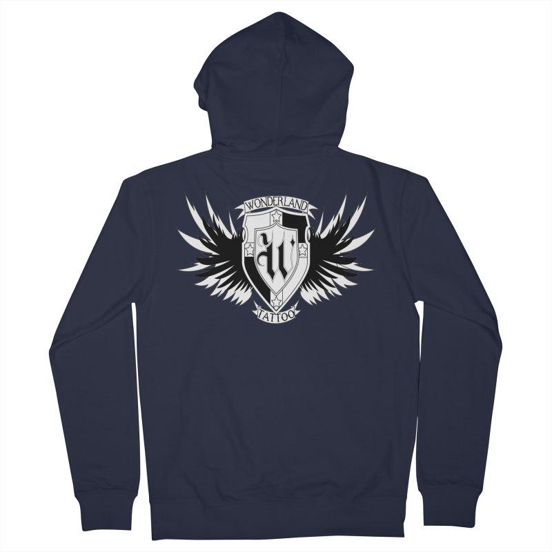 Winged Shield Men's French Terry Zip-Up Hoody by Wonderland Tattoo Studio's Artist Shop
