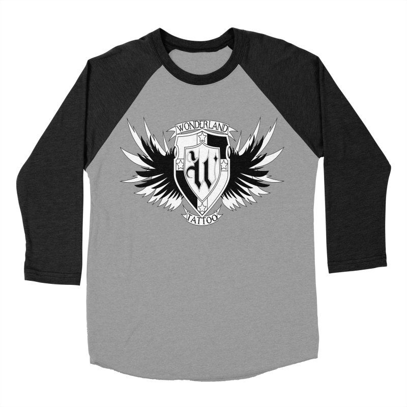 Winged Shield Women's Baseball Triblend Longsleeve T-Shirt by Wonderland Tattoo Studio's Artist Shop