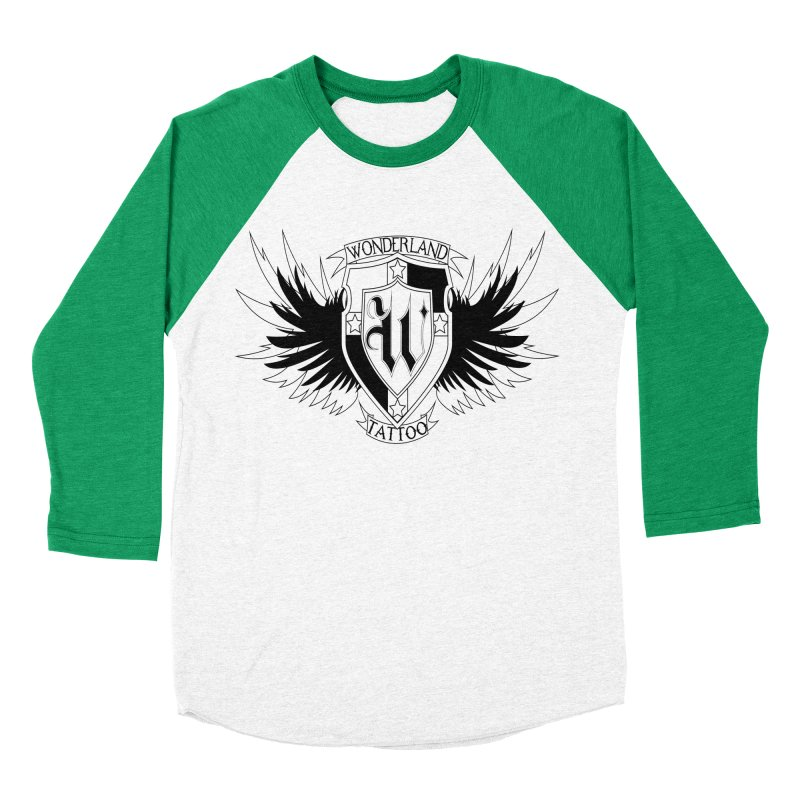 Winged Shield Men's Baseball Triblend Longsleeve T-Shirt by Wonderland Tattoo Studio's Artist Shop