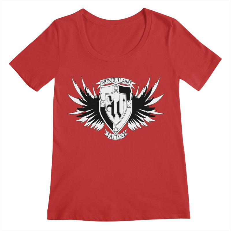 Winged Shield Women's Regular Scoop Neck by Wonderland Tattoo Studio's Artist Shop