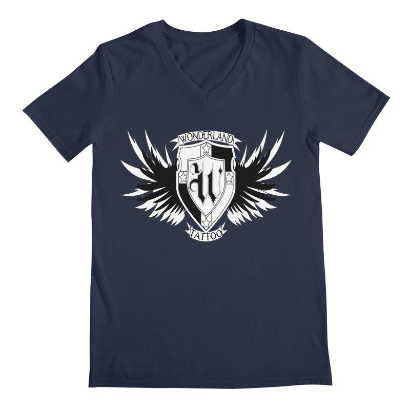 Winged Shield Men's Regular V-Neck by Wonderland Tattoo Studio's Artist Shop