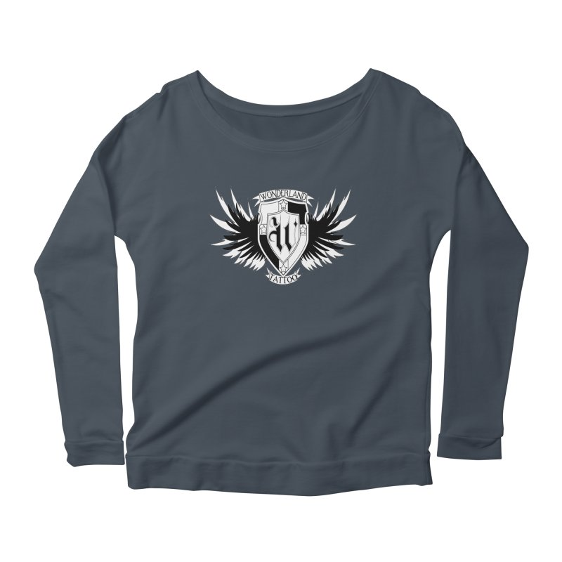 Winged Shield Women's Longsleeve Scoopneck  by Wonderland Tattoo Studio's Artist Shop
