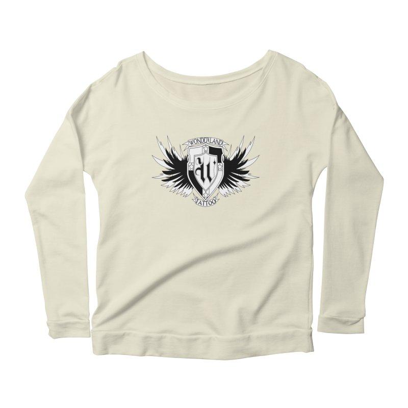 Winged Shield Women's Scoop Neck Longsleeve T-Shirt by Wonderland Tattoo Studio's Artist Shop