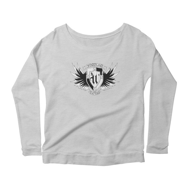 Winged Shield Women's Longsleeve Scoopneck  by Wonderland Tattoo Studio's Artist Shop