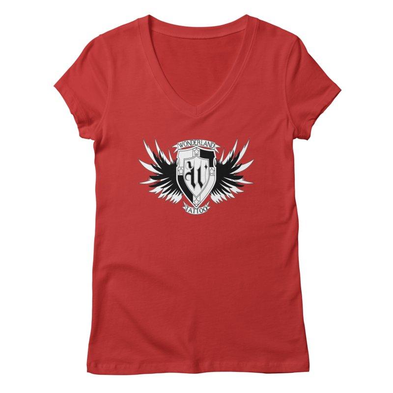 Winged Shield Women's Regular V-Neck by Wonderland Tattoo Studio's Artist Shop