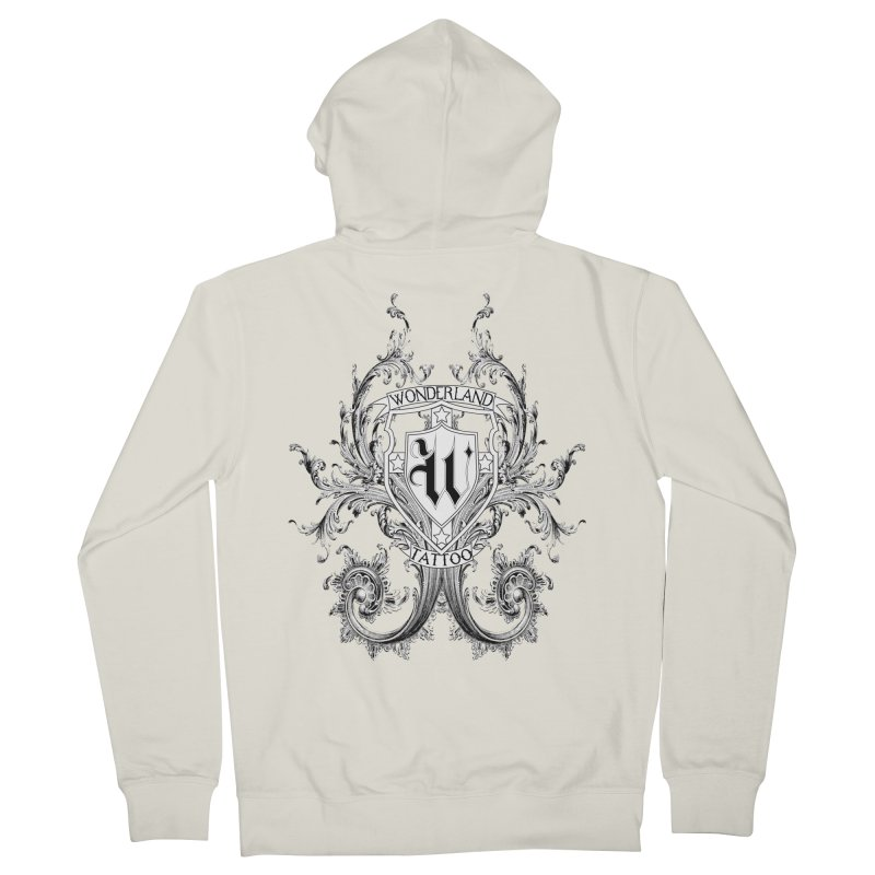 filigree shirt Women's French Terry Zip-Up Hoody by Wonderland Tattoo Studio's Artist Shop