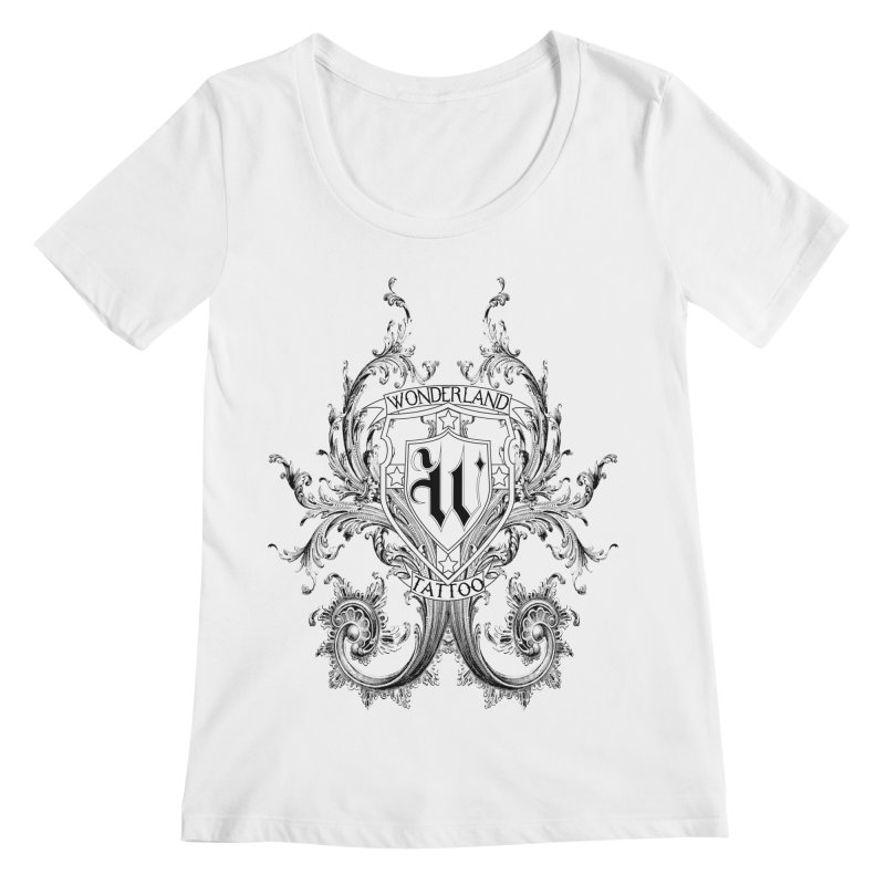filigree shirt Women's Regular Scoop Neck by Wonderland Tattoo Studio's Artist Shop