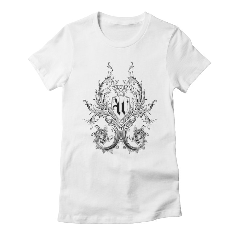 filigree shirt Women's Fitted T-Shirt by Wonderland Tattoo Studio's Artist Shop