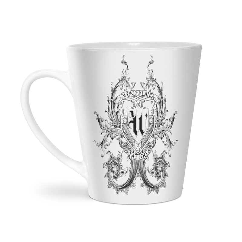 filigree shirt Accessories Latte Mug by Wonderland Tattoo Studio's Artist Shop