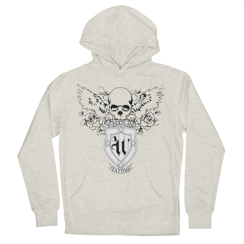 Skull and Wings Logo Women's French Terry Pullover Hoody by Wonderland Tattoo Studio's Artist Shop