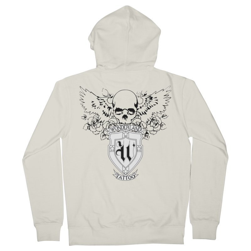 Skull and Wings Logo Women's French Terry Zip-Up Hoody by Wonderland Tattoo Studio's Artist Shop