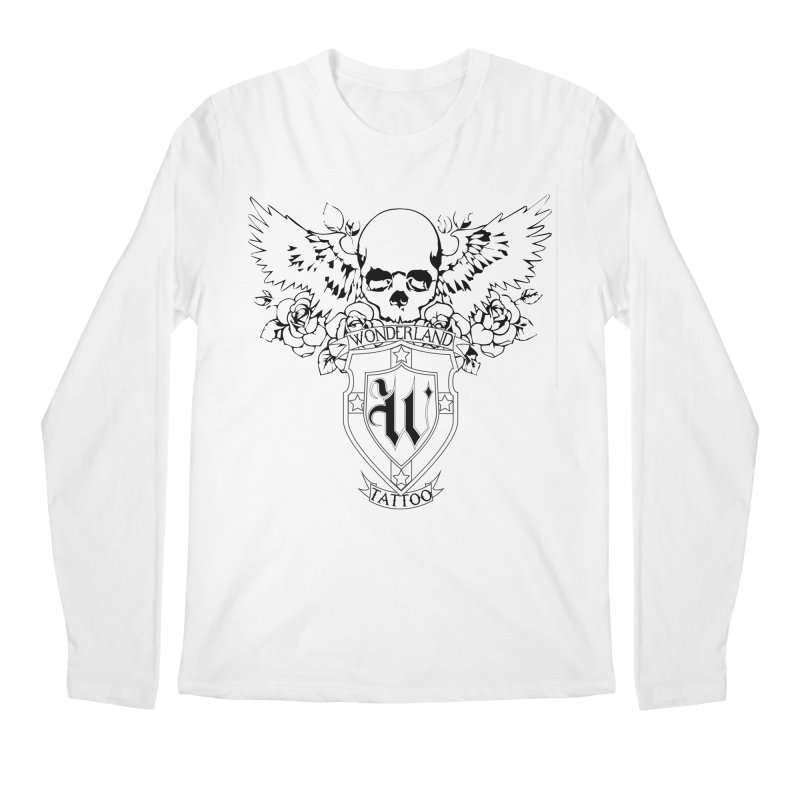 Skull and Wings Logo Men's Regular Longsleeve T-Shirt by Wonderland Tattoo Studio's Artist Shop