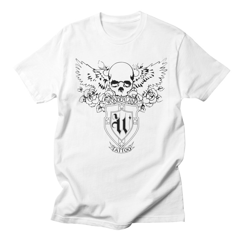 Skull and Wings Logo Men's Regular T-Shirt by Wonderland Tattoo Studio's Artist Shop