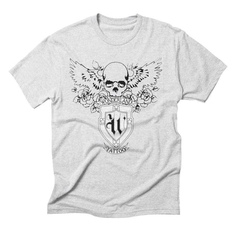 Skull and Wings Logo Men's Triblend T-Shirt by Wonderland Tattoo Studio's Artist Shop
