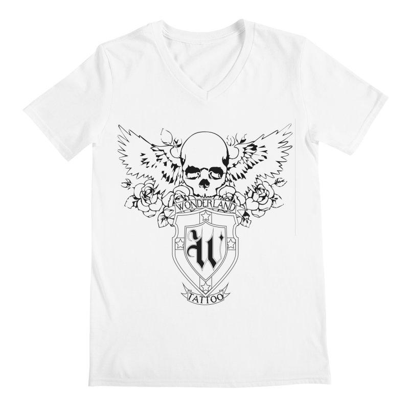 Skull and Wings Logo Men's Regular V-Neck by Wonderland Tattoo Studio's Artist Shop