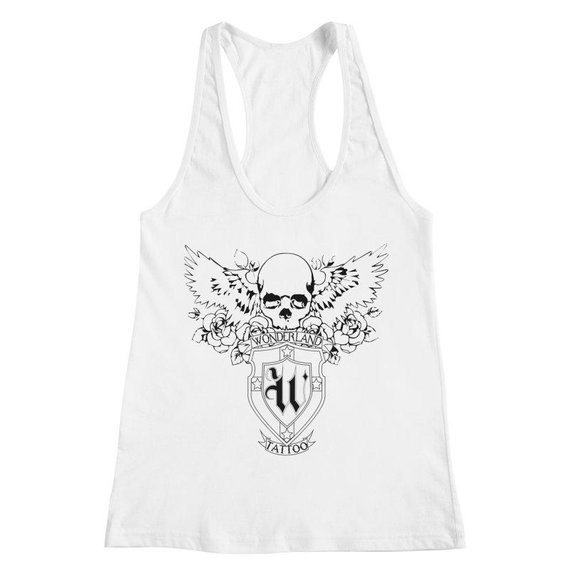 Skull and Wings Logo Women's Racerback Tank by Wonderland Tattoo Studio's Artist Shop