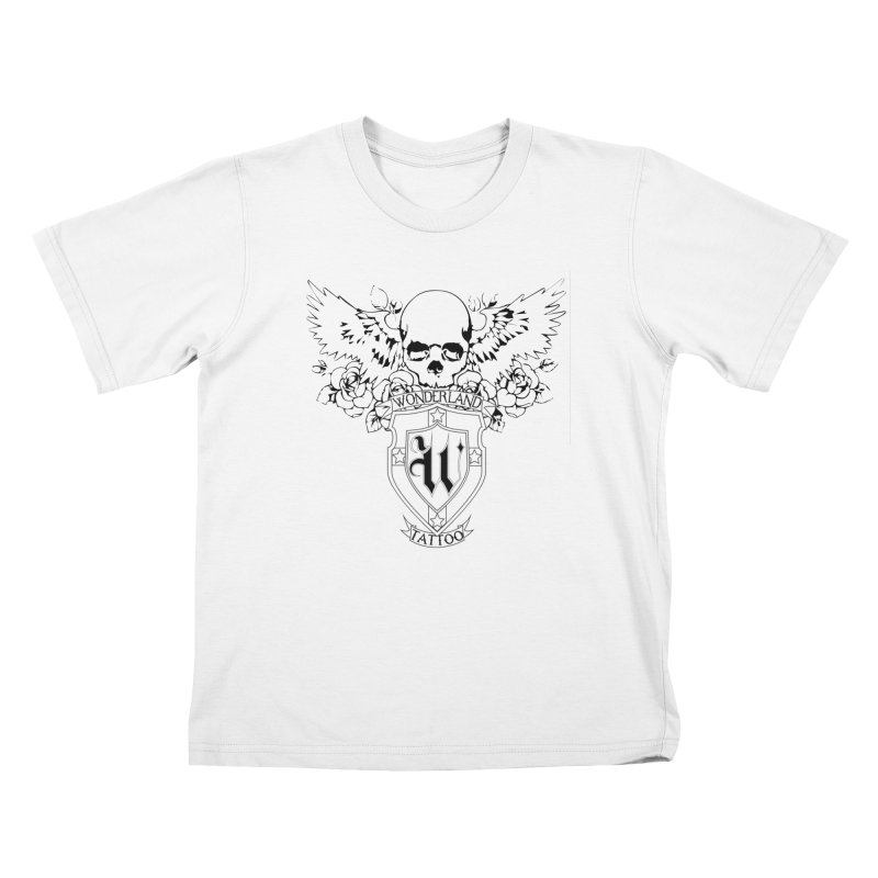 Skull and Wings Logo Kids T-Shirt by Wonderland Tattoo Studio's Artist Shop
