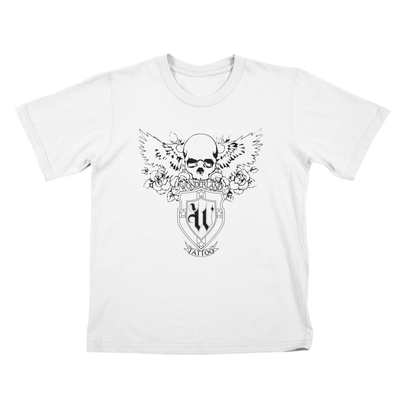 Skull and Wings Logo Kids T-Shirt by Wonderland Tattoo Studio's Artist Shop