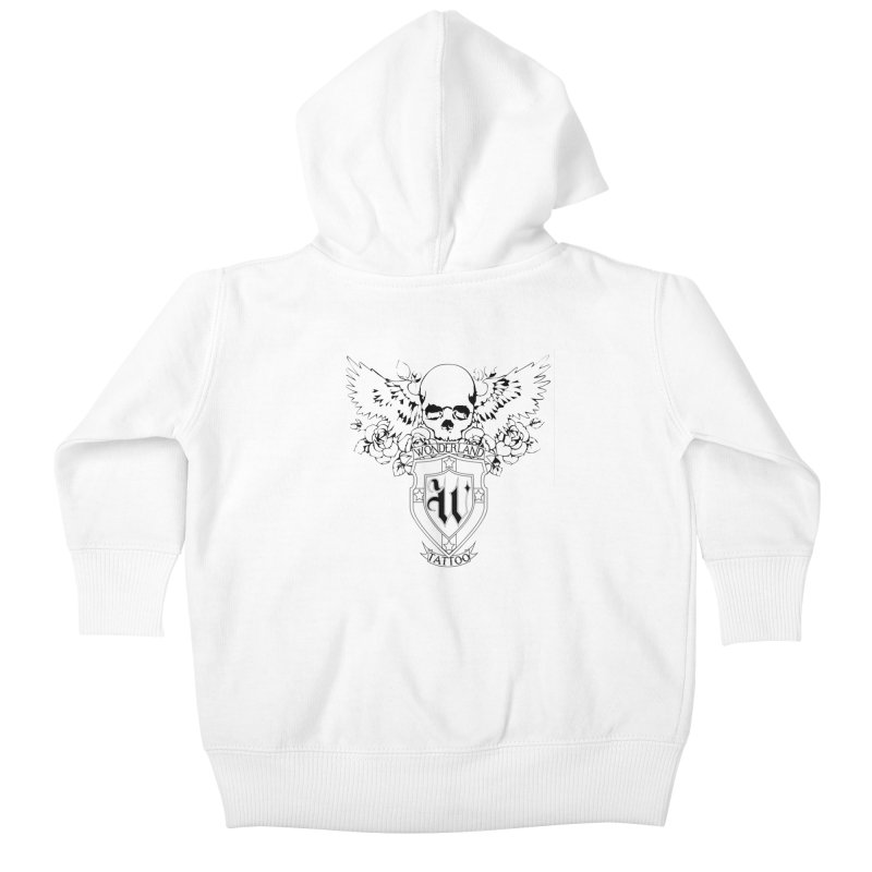 Skull and Wings Logo Kids Baby Zip-Up Hoody by Wonderland Tattoo Studio's Artist Shop